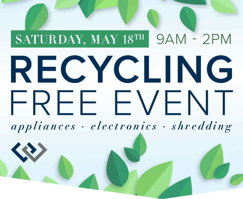 Free Recycling Event Saturday, May 18th from 9am to 2pm